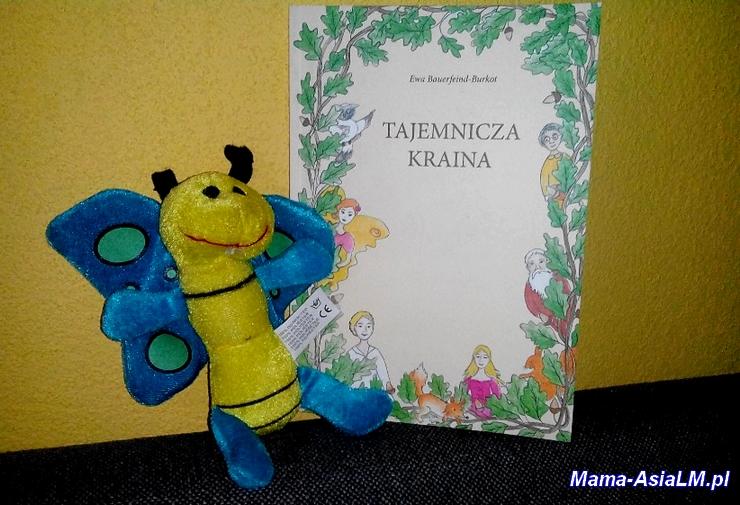 Tajemnicza Kraina (okładka książki) i motyl zabawka