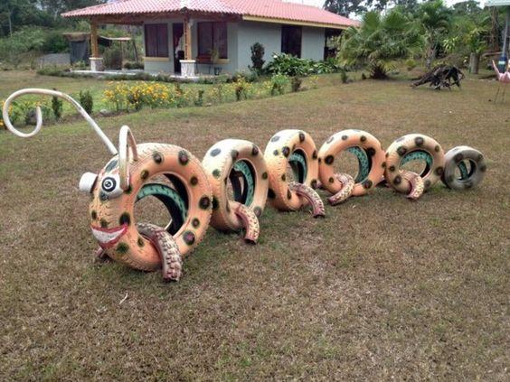 ozdoby z opon plac zabaw  stonoga gąsiennica