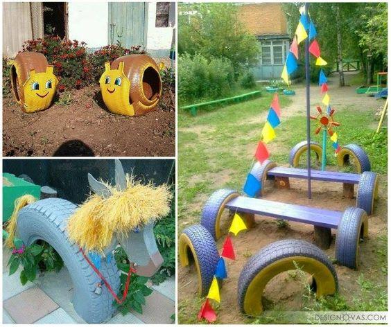 ozdoby z opon plac zabaw  pomysły