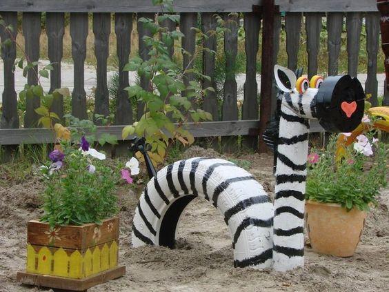 ozdoby z opon ogrodowe plac zabaw  zebra