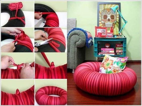 ozdoby z opon w pokoju dziecięcym pufa z opony