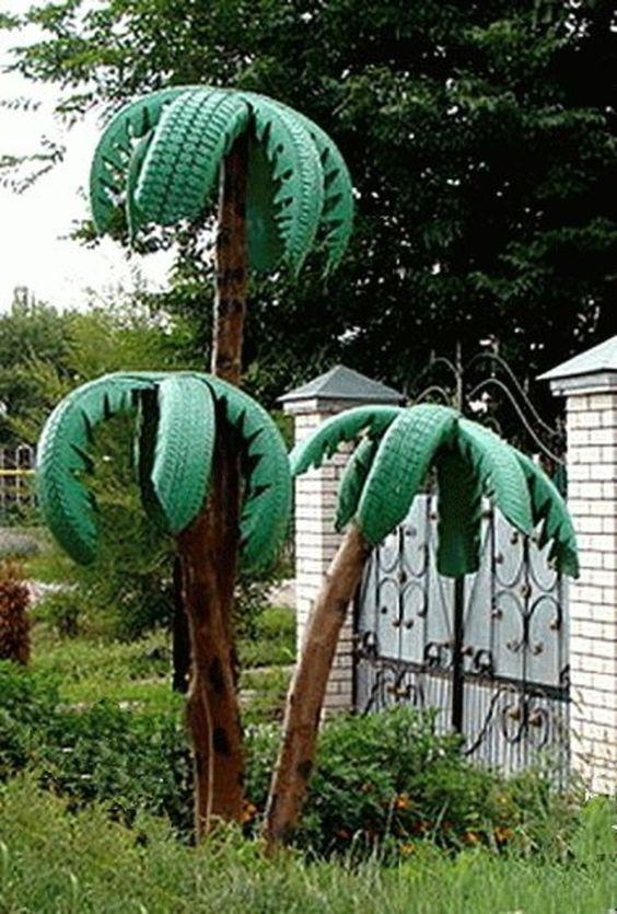 drzewa palmy z opon ozdoby do ogrodu