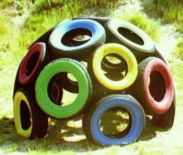ozdoby z opon plac zabaw  tor przeszkód domek kula