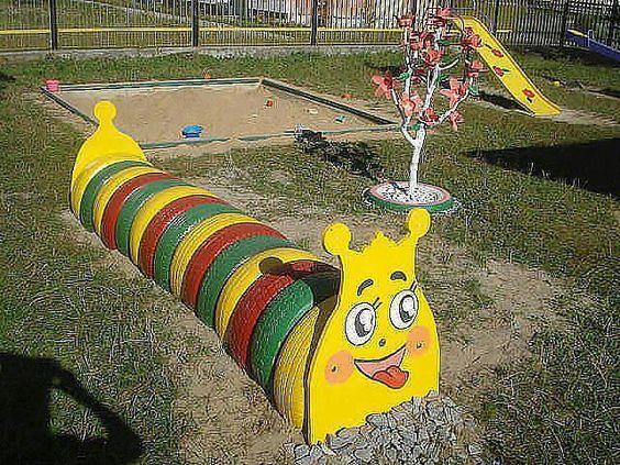 ozdoby z opon plac zabaw  kolorowe