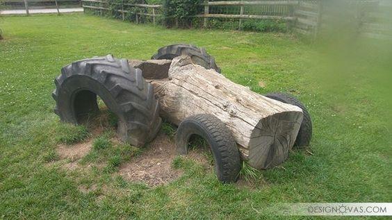 ozdoby z opon plac zabaw  traktor