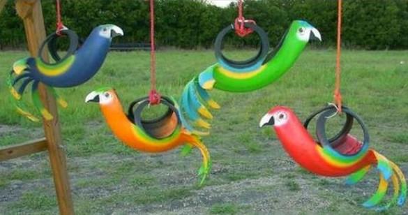 huśtawka z opony dla dzieci papuga