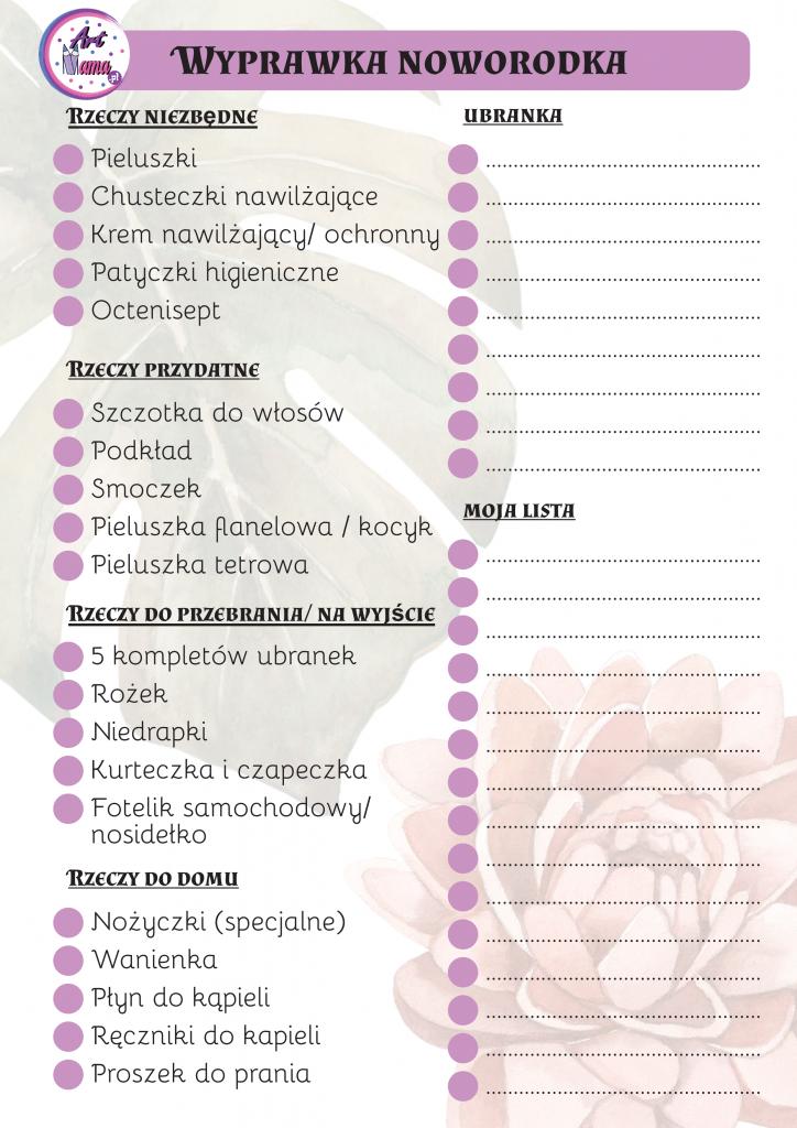 wyprawka noworodka - checklista