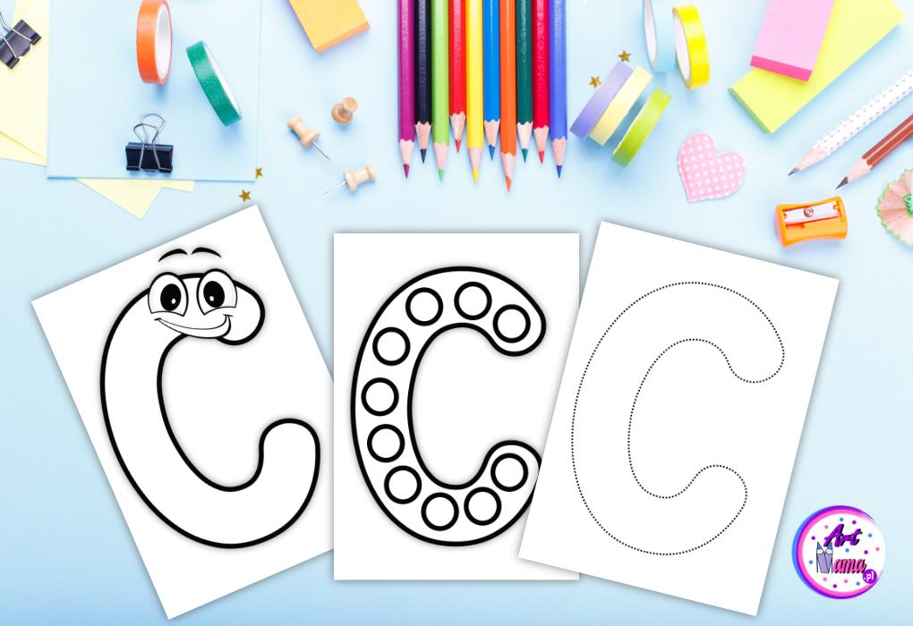 Litery do Kolorowania, Wyklejania, Ćwiczeń po Śladzie