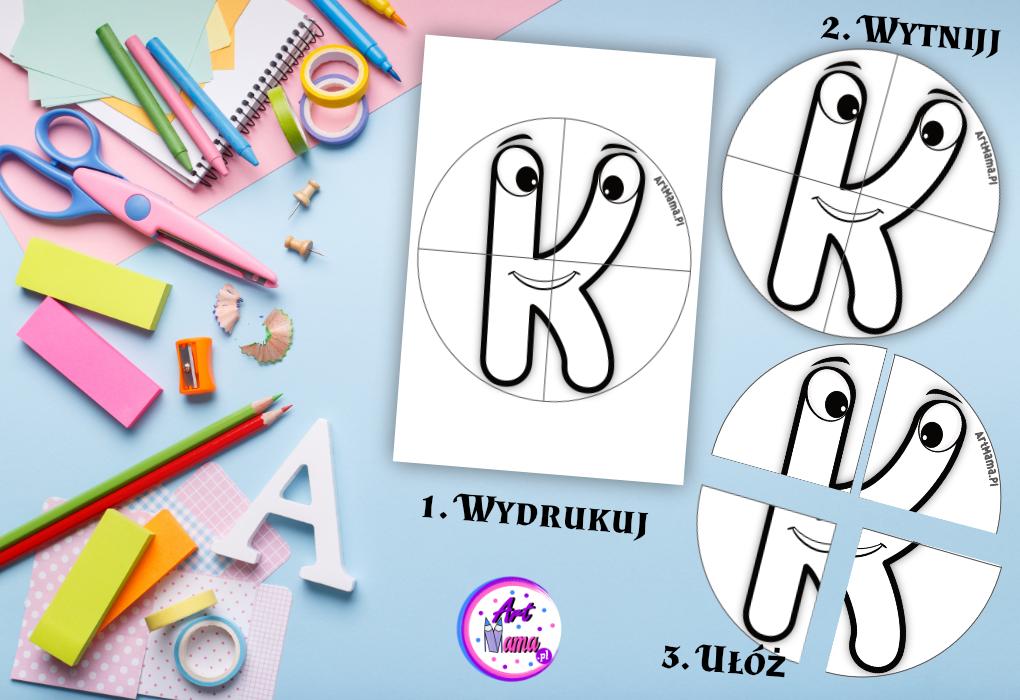 Litery do Kolorowania, Puzzle do Wycinania do druku -  Karty Pracy do Nauki Alfabetu