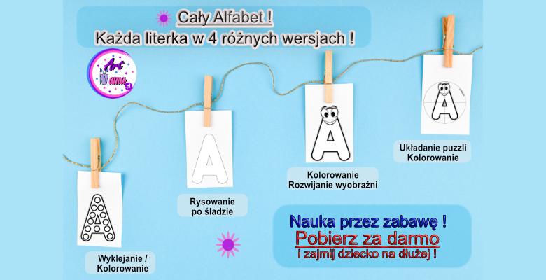 litery do kolorowania wyklejania puzzle karty pracy do wydruku pdf artmama
