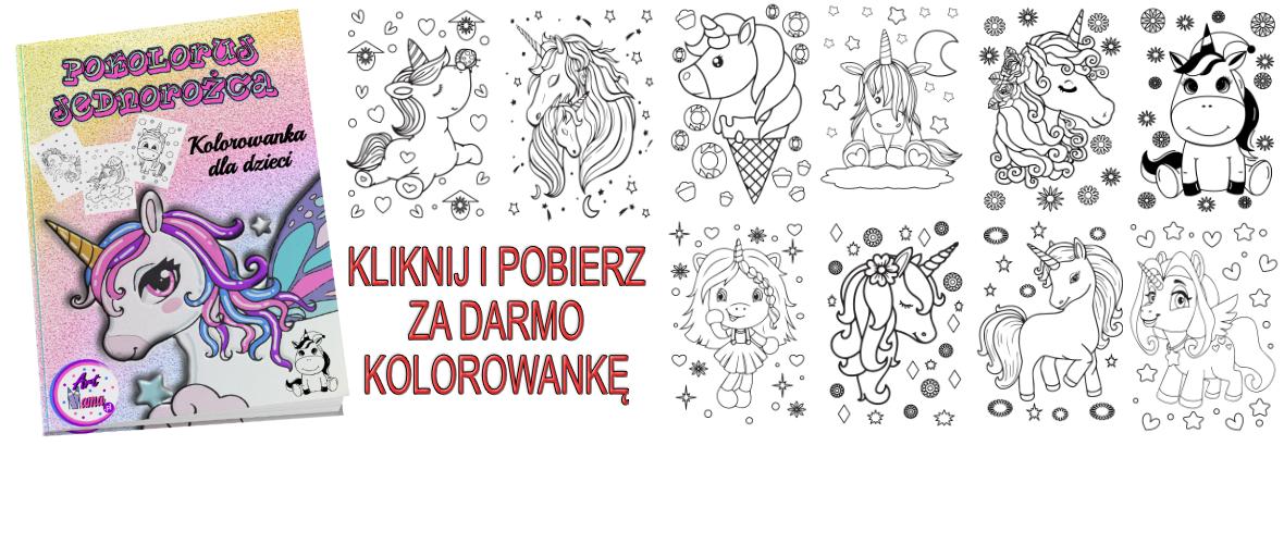 """Kolorowanka Dla Dzieci """"Pokoloruj Jednorożca"""" – PDF Unicorn Do Druku"""